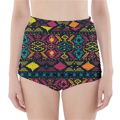 Bohemian Patterns Tribal High Waisted Bikini Bottoms