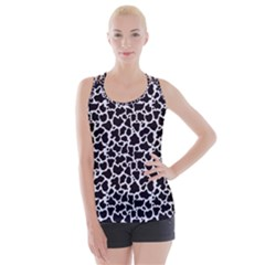 Cow Pattern Background Criss Cross Back Tank Top