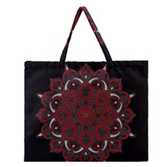 Ornate Mandala Zipper Large Tote Bag by Valentinaart