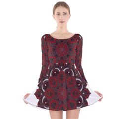 Ornate mandala Long Sleeve Velvet Skater Dress by Valentinaart