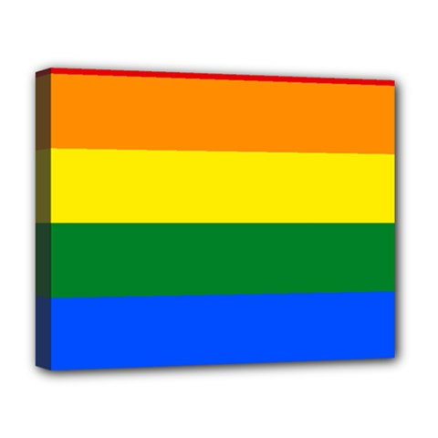 Pride Rainbow Flag Deluxe Canvas 20  X 16   by Valentinaart
