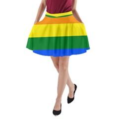 Pride Rainbow Flag A Line Pocket Skirt by Valentinaart
