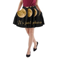 Moon Phases  A Line Pocket Skirt by Valentinaart