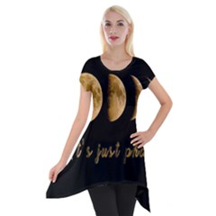 Moon Phases  Short Sleeve Side Drop Tunic by Valentinaart
