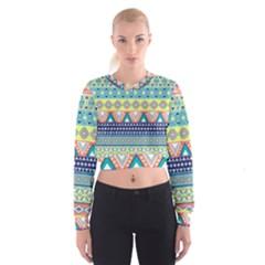 Tribal Print Cropped Sweatshirt
