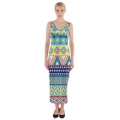 Tribal Print Fitted Maxi Dress