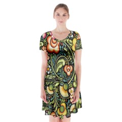 Bohemia Floral Pattern Short Sleeve V Neck Flare Dress