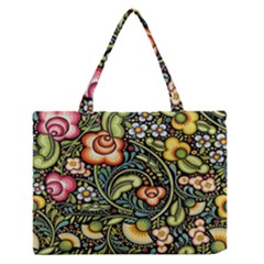 Bohemia Floral Pattern Medium Zipper Tote Bag