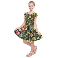Bohemia Floral Pattern Kids  Short Sleeve Dress