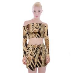 Animal Fabric Patterns Off Shoulder Top With Skirt Set