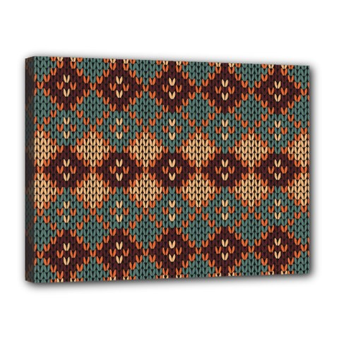 Knitted Pattern Canvas 16  X 12  by BangZart