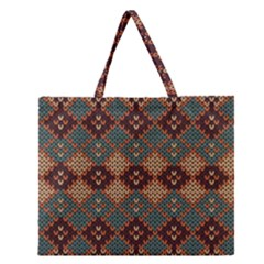 Knitted Pattern Zipper Large Tote Bag