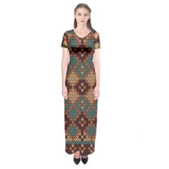 Knitted Pattern Short Sleeve Maxi Dress