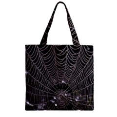 Spider Web Wallpaper 14 Zipper Grocery Tote Bag