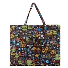 Many Funny Animals Zipper Large Tote Bag by BangZart
