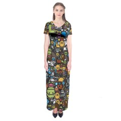 Many Funny Animals Short Sleeve Maxi Dress