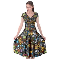 Many Funny Animals Cap Sleeve Wrap Front Dress