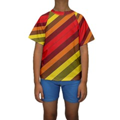 Abstract Bright Stripes Kids  Short Sleeve Swimwear