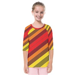 Abstract Bright Stripes Kids  Quarter Sleeve Raglan Tee