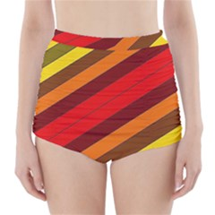 Abstract Bright Stripes High Waisted Bikini Bottoms