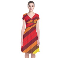 Abstract Bright Stripes Short Sleeve Front Wrap Dress