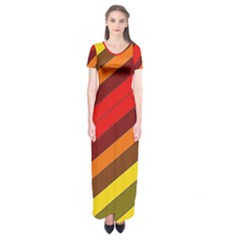 Abstract Bright Stripes Short Sleeve Maxi Dress