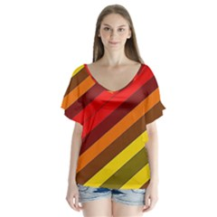 Abstract Bright Stripes Flutter Sleeve Top