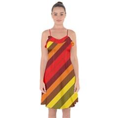 Abstract Bright Stripes Ruffle Detail Chiffon Dress by BangZart