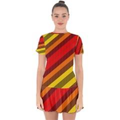 Abstract Bright Stripes Drop Hem Mini Chiffon Dress