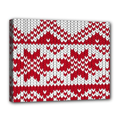 Crimson Knitting Pattern Background Vector Canvas 14  X 11  by BangZart
