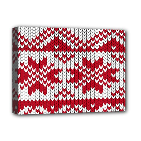 Crimson Knitting Pattern Background Vector Deluxe Canvas 16  X 12   by BangZart