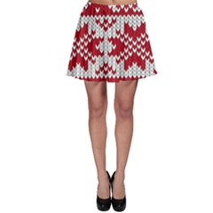 Crimson Knitting Pattern Background Vector Skater Skirt