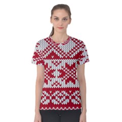 Crimson Knitting Pattern Background Vector Women s Cotton Tee