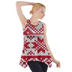 Crimson Knitting Pattern Background Vector Side Drop Tank Tunic
