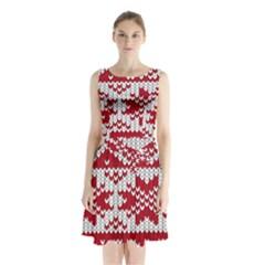 Crimson Knitting Pattern Background Vector Sleeveless Waist Tie Chiffon Dress