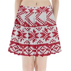 Crimson Knitting Pattern Background Vector Pleated Mini Skirt