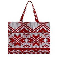 Crimson Knitting Pattern Background Vector Medium Zipper Tote Bag