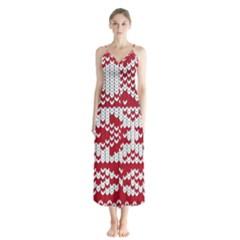 Crimson Knitting Pattern Background Vector Button Up Chiffon Maxi Dress
