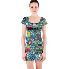 Comics Short Sleeve Bodycon Dress