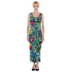 Comics Fitted Maxi Dress