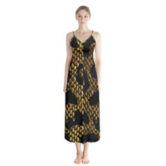 Metallic Snake Skin Pattern Button Up Chiffon Maxi Dress