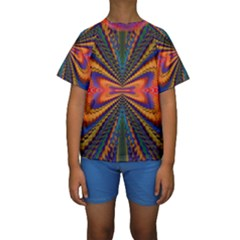Casanova Abstract Art Colors Cool Druffix Flower Freaky Trippy Kids  Short Sleeve Swimwear