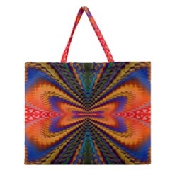 Casanova Abstract Art Colors Cool Druffix Flower Freaky Trippy Zipper Large Tote Bag by BangZart