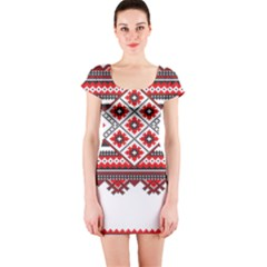 Consecutive Knitting Patterns Vector Short Sleeve Bodycon Dress