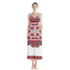 Consecutive Knitting Patterns Vector Button Up Chiffon Maxi Dress