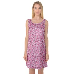 Abstract Pink Squares Sleeveless Satin Nightdress