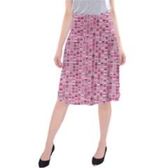 Abstract Pink Squares Midi Beach Skirt by BangZart