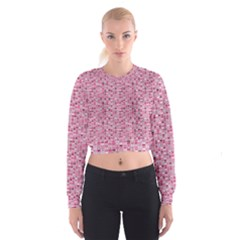 Abstract Pink Squares Cropped Sweatshirt