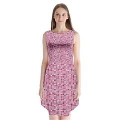 Abstract Pink Squares Sleeveless Chiffon Dress