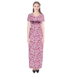 Abstract Pink Squares Short Sleeve Maxi Dress